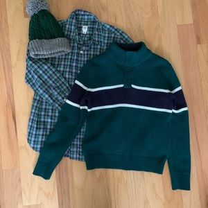 GAP sweater, button down and matching hat